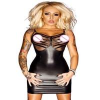 Women Sexy Mesh Faux Leather Micro Mini Dress Nightclub Black PVC Fetish Latex Dress Stretch Catsuit