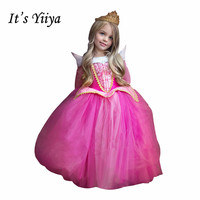 É YiiYa Rose Vermelho Azul Full Boat Neck Cristal Apliques Crianças Princesa Flor meninas Vestido Crianças Vestido de Festa de Natal TS093