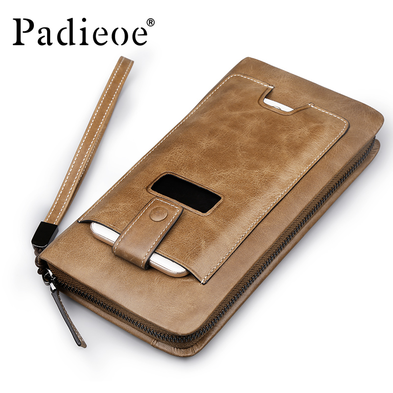 Padieoe 2017 Vintage 100% Genuine Leather Men Wallets Famous Brand Men's Zipper Long Purse Casual Leather Phone Bag Clutch Bags contact s 100% genuine leather wallet men long vintage cow leather casual purse brand design high quality wallets cell phone bag