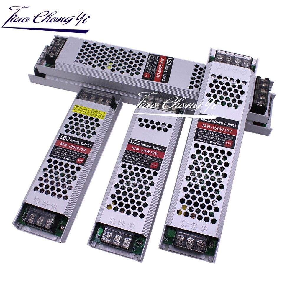 Ultra Dünne LED Netzteil DC12V Beleuchtung Transformatoren 60W 100W 150W 200W 300W 400W AC190-240V Fahrer Für LED Streifen