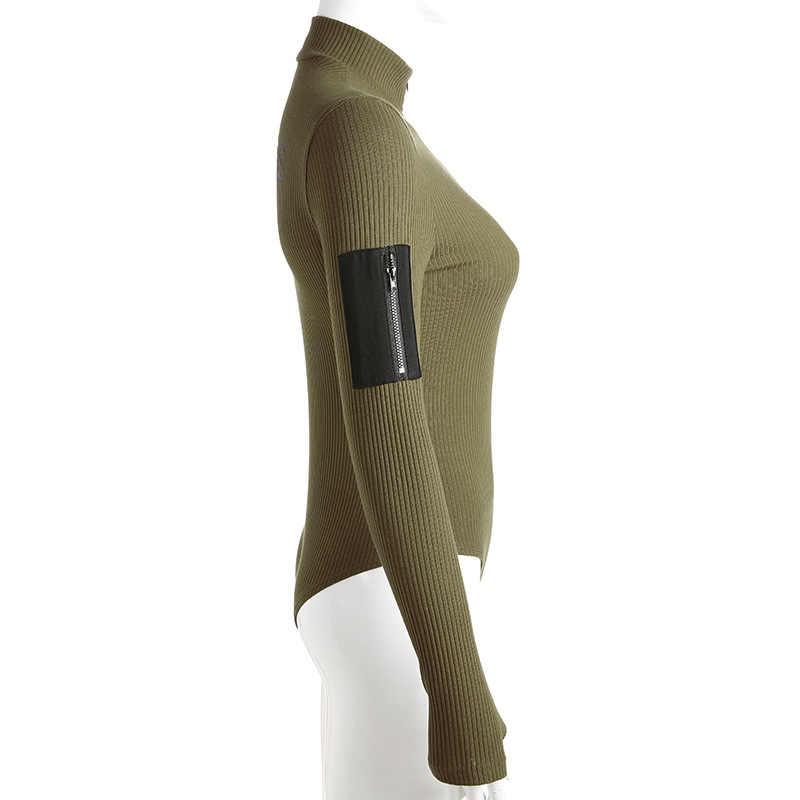 Хлопок боди с длинным рукавом Для женщин Армейский зеленый водолазка молния комбинезон скинни карман Повседневное письмо комбинезоны тела Для женщин
