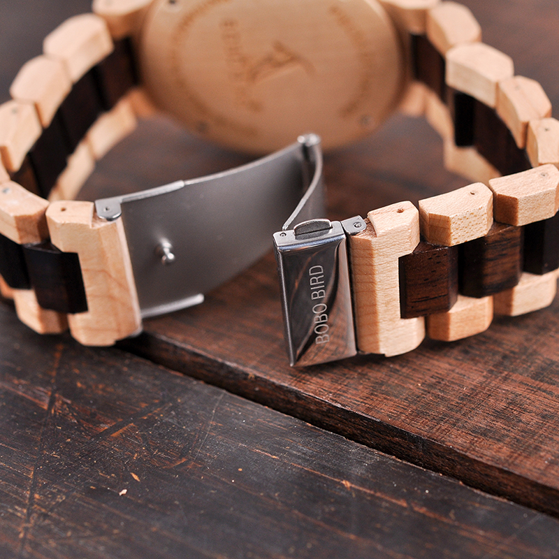 Image 4 - BOBO BIRD Wooden Watch Men Relogio Masculino Luxury Stylish Timepieces Chronograph Military Quartz Watches Great Gift for Men-in Quartz Watches from Watches