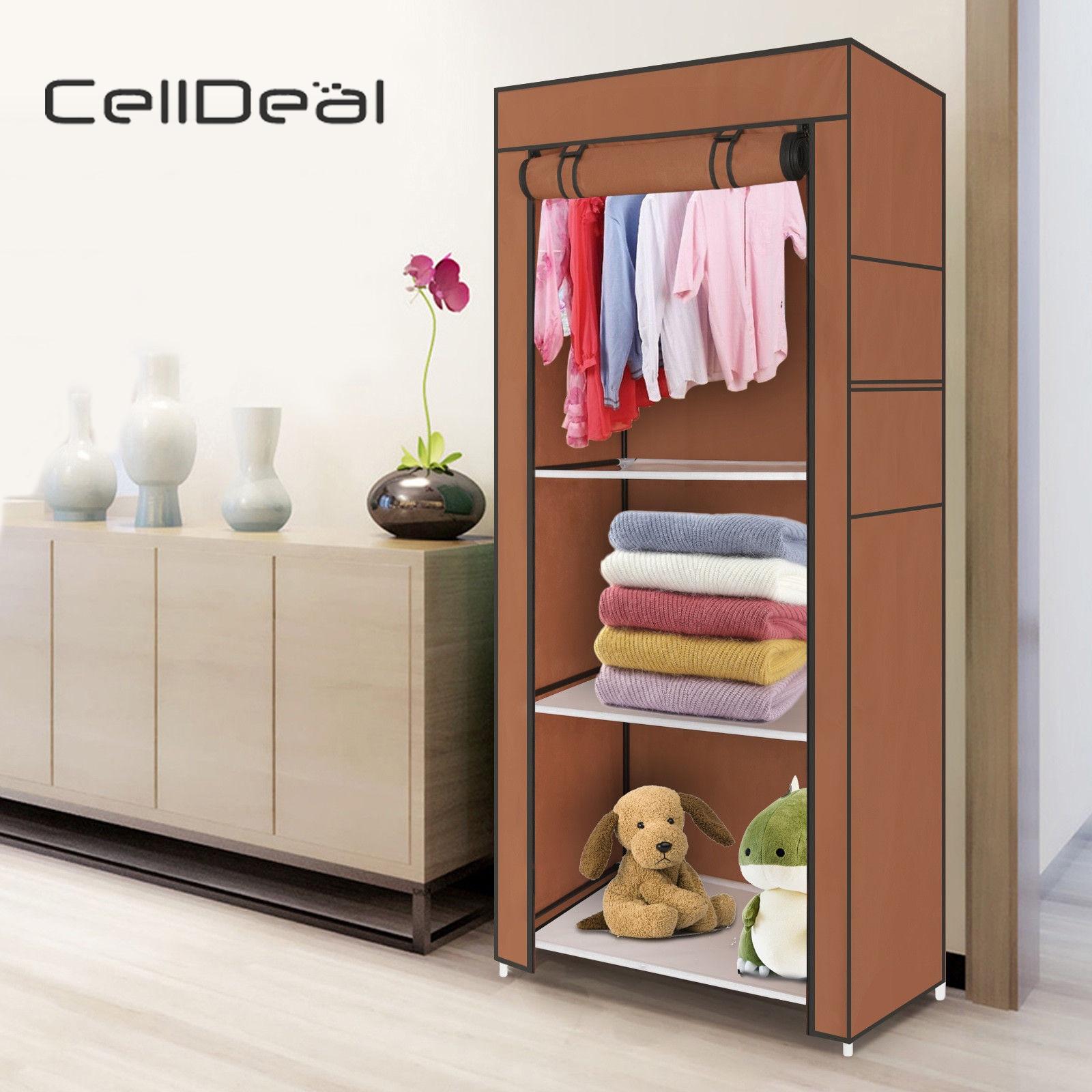 Bedrooms Single Canvas Clothes Storage Organizer Wardrobe Cupboard Shelves Cloth Storage Bedroom Furniture Closet Storage