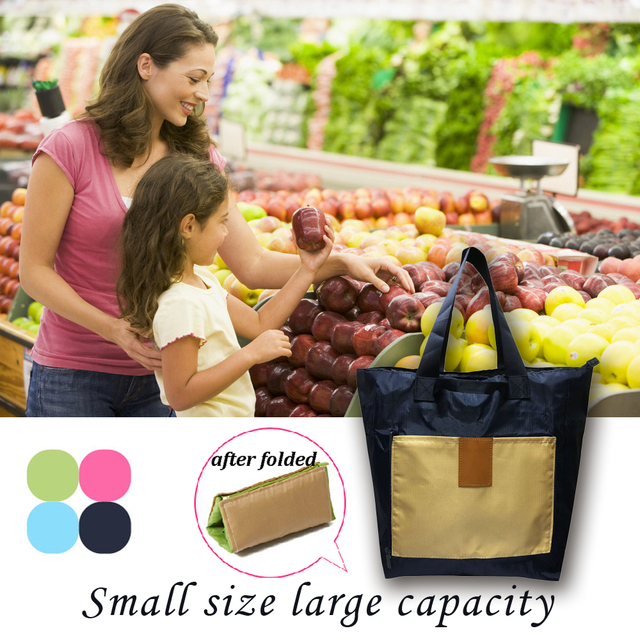 Portable Shopping Bag Tote Folding Reusable Bags Home Market With Large Capacity