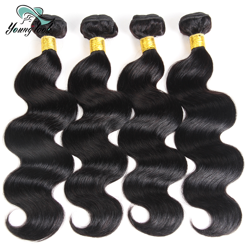 Young Look Hair 4 Bundles Peruvian Body Wave Hair 100% Human Hair Weaves 8-26inch Natural Color Non-Remy Hair Extensions