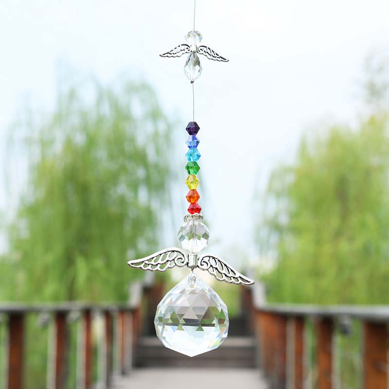 H&D Crystal Suncatcher Chakra Beads Pendent Guardian Angel Window Hanging Ornament Rainbow Home Wedding Sun Catcher Gifts