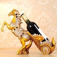 Лошадь автомобиль винный полка из металла Скульптура практические Скульптура вина Стенд украшение дома интерьер ремесла