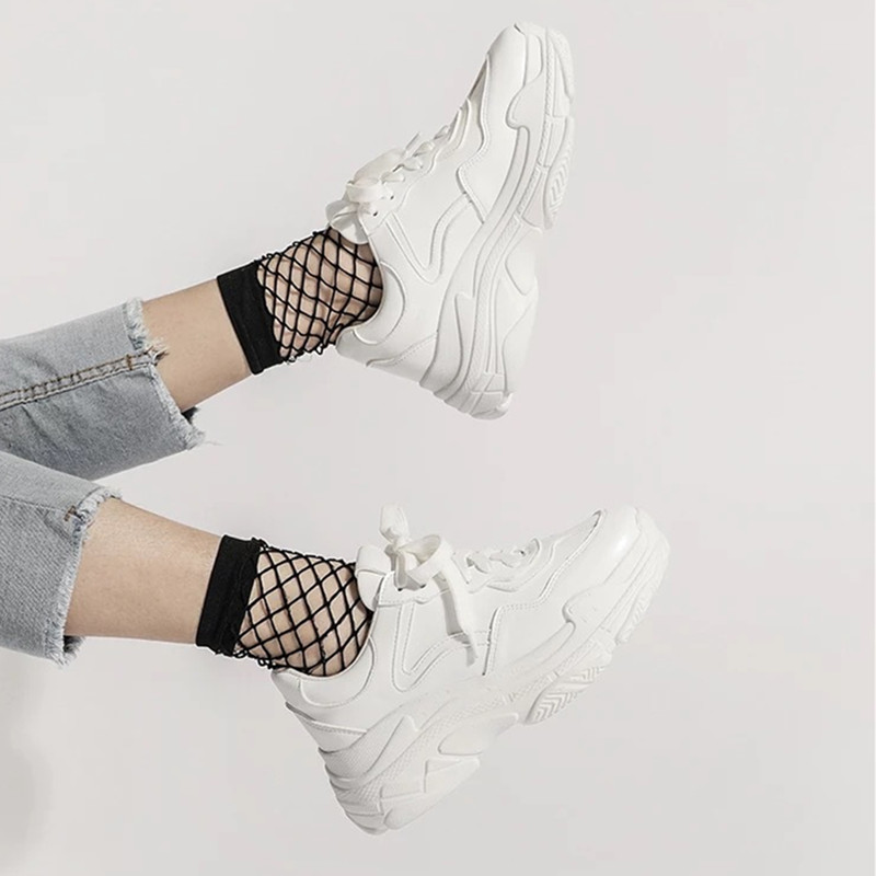 ALL YIXIE 2019 New Summer White Mesh Women Sneakers Fashion Thick Bottom Womens Platform Sneakers Casual Shoes Zapatos De Mujer
