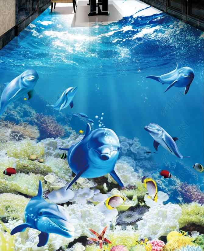 Papel tapiz para niños, piso 3d de delfines y peces tropicales, papel tapiz para habitación de niños, papel tapiz para habitación autoadhesivo de pvc 3d, suelo, papel de pared moderno