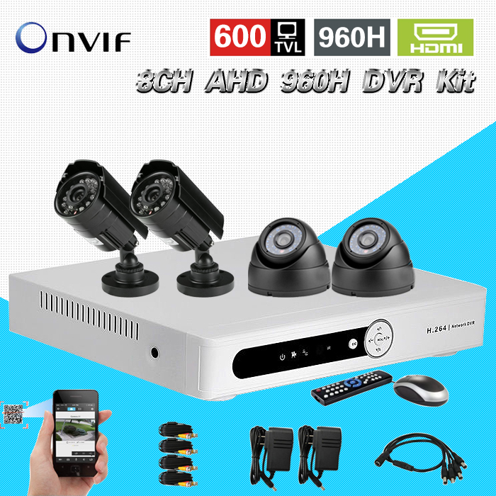 TEATE 8 Channel cctv Security camera with DVR Recording System 4pcs 600TVL Camera Kit 8ch AHD 960h dvr HD HDMI 1080P CK-193 home cctv surveillance system 16 channel dvr recording with 16pcs 700tvl dome security camera system cctv dvr kit 16ch ck 206