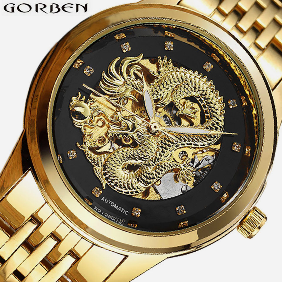 Carved Dragon Skeleton Automatic Watches Mens Gold Silver Male Mechanical Clock Luminous Chinese Wrist Watch Top Brand Luxury forsining 2017 dragon series transparent silver case mens watches top brand luxury mechanical skeleton watch male wrist watches