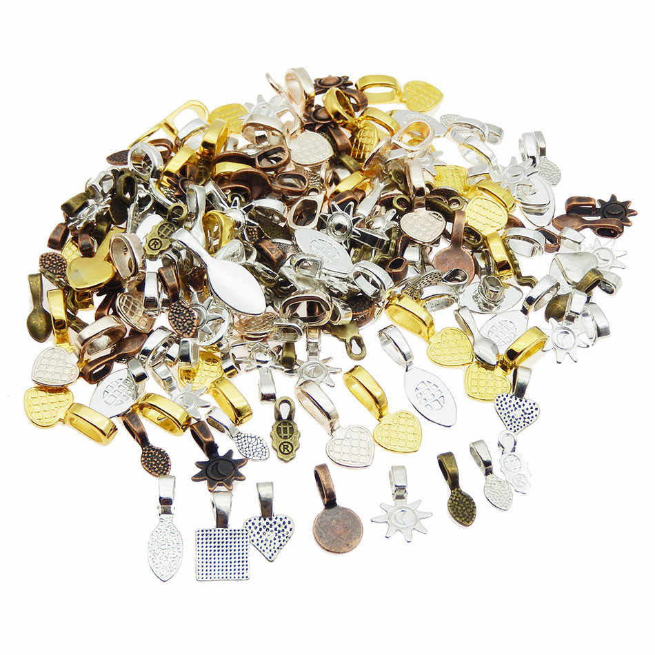 100pcs Mix Color Style DIY Oval Jewelry Scrabble Glue On Earring Bails For Fitting Glass Cabochon Tiles Pendants