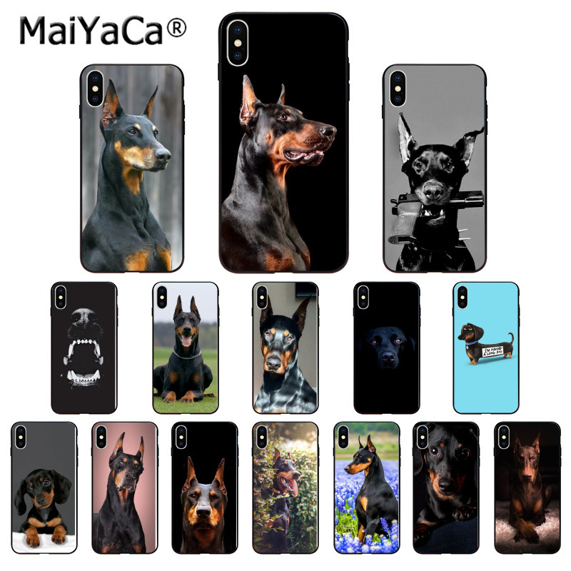 a9ff6ecca MaiYaCa Animal Dachshund Doberman dog Black Soft Shell Phone Cover for  iPhone X XS