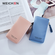 WEICHEN Lady Key Wallet Women PU Leather Solid Key Chain Zipper Girl Housekeeper Keys Cover Organizer Case Female Key Holder Bag