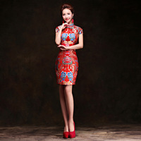 New Arrival Women Sexy Short Cheongsam Dress Lady Chinese Traditional Dress for Party Red Qipao Dress Wedding Evening Dress 89
