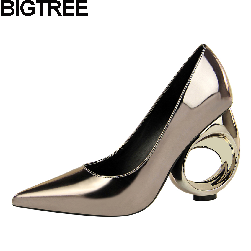 BIGTREE Women Strange Style Cut Out High Heels Pumps Metallic Faux Leather Glossy Shallow Shoes Party Clubwear Spring Summer gothic style cut out lace faux gem rhinestone necklace