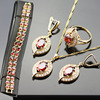 Red Created Garnet Stylish Jewelry Set For Women White Zircon Gold Plated Rings Earrings Necklace Pendant