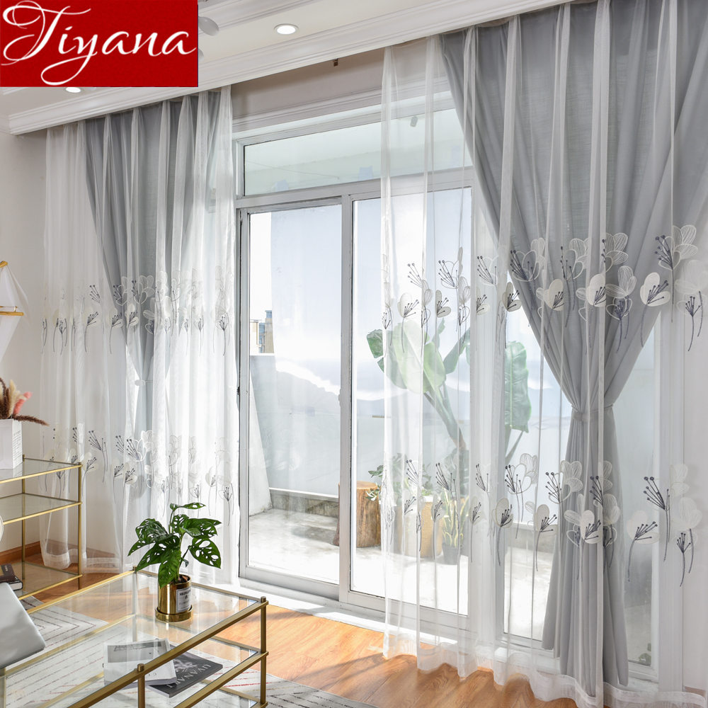 Rustic Curtains For Living Room Rustic Curtains For Living Room Tulle Curtain Gray Floral Design Window Bedroom Treatment Kitchen Sheer Fabric Cortinas T 059 30