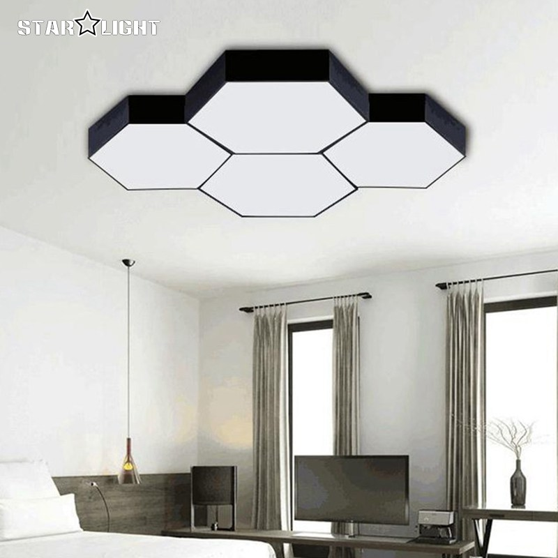 LX260 new house modern LED ceiling lights simple fashion hexagon     LX260 new house modern LED ceiling lights simple fashion hexagon  combination light acrylic home lighting in Ceiling Lights from Lights    Lighting on