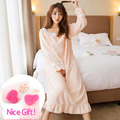 Sweet Women Pajamas Winter Thickening Coral Fleece Robe Girls Warm Flannel Sleepwear Nighty Women Bathrobe Nightgown Lounge 245