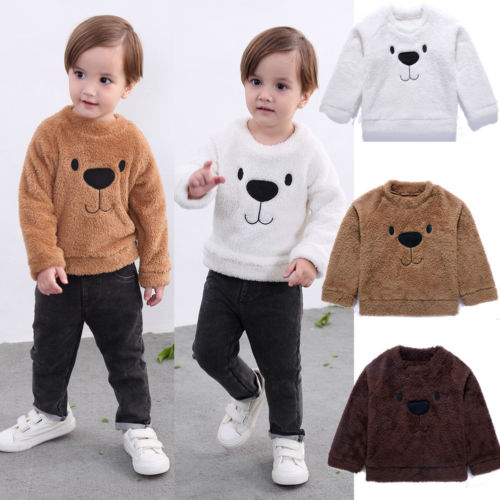Infant Baby Boy Girl Cute Mustache Hoodie Coral Fleece Jacket Kids Cartoon Bear Warm Coat Outwear