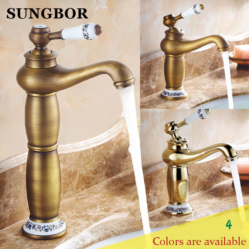 Gold bathroom faucet antique copper faucet brass chrome bathroom taps rose gold taps mixers faucets Free shipping AL 7152F
