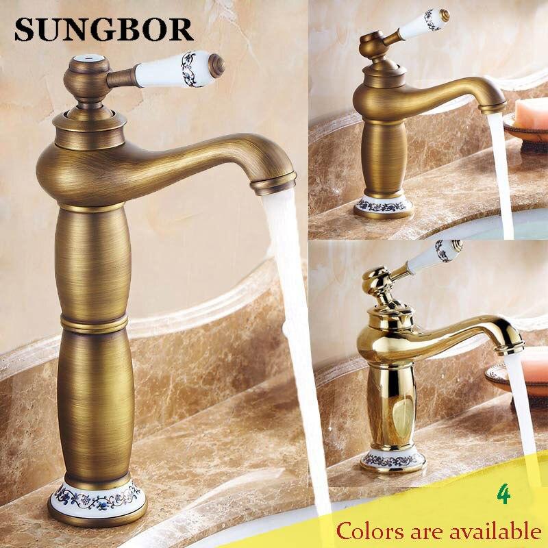 Robinet de salle de bain en or robinet en cuivre antique en laiton chromé robinets de salle de bain en or rose robinets mélangeurs robinets livraison gratuite AL-7152F