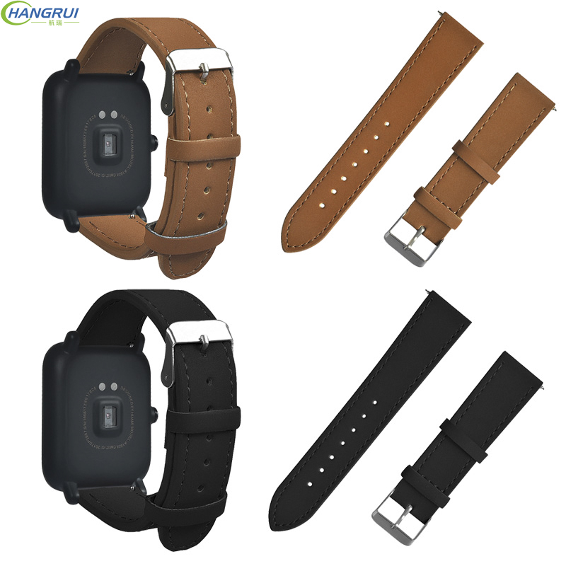 20m Leather Smart Watch Strap For Xiaomi Huami Amazfit Bip Bit Youth Edition Watch Heart Rate Monitor Band belt