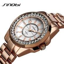 Sinobi luxury Dress Brand Fashion Watch Woman Ladies Gold Diamond relogio feminino Dress Clock female relojes mujer 2016 New