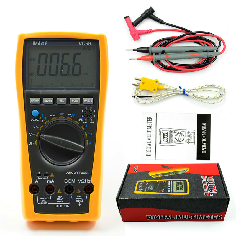 ФОТО 1pcs Vichy Vici VC99 3 6/7 Auto range digital multimeter with bag+Alligator Probe+Thermal Couple TK cable