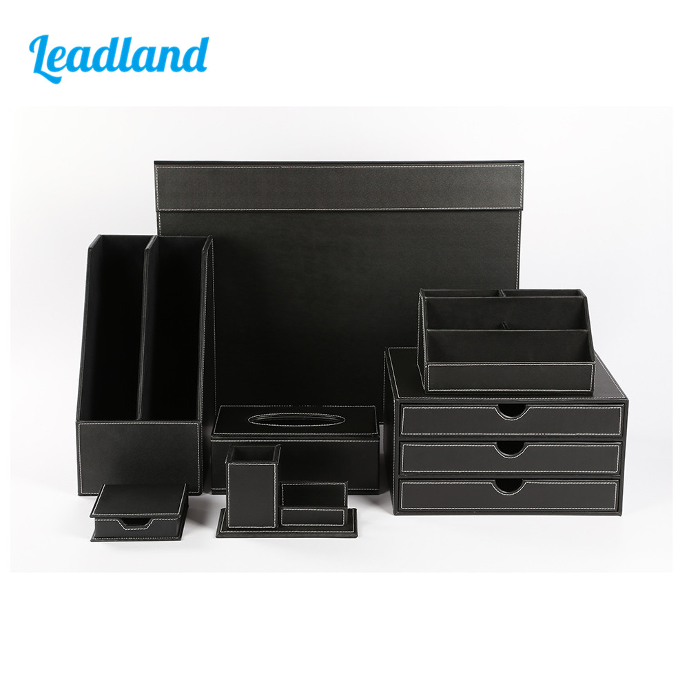 Deluxe Office Desktop 7-piece Set Pen Pencil Holder Sticky Note holder Stationery Organizer Box Tissue dispenser T06 Black/BrownDeluxe Office Desktop 7-piece Set Pen Pencil Holder Sticky Note holder Stationery Organizer Box Tissue dispenser T06 Black/Brown