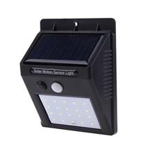 20 LED Солнечный Мощность движения PIR Сенсор привело настенный светильник Открытый Водонепроницаемый энергосберегающие лампы уличного Двор Путь Сад безопасности свет