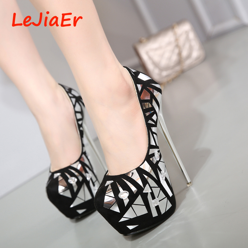 sexy high heels shoes pumps women party shoes for women platform heels  rhinestone wedding shoes stiletto heels silver pumps D791-in Women s Pumps  from Shoes adf1765650eb