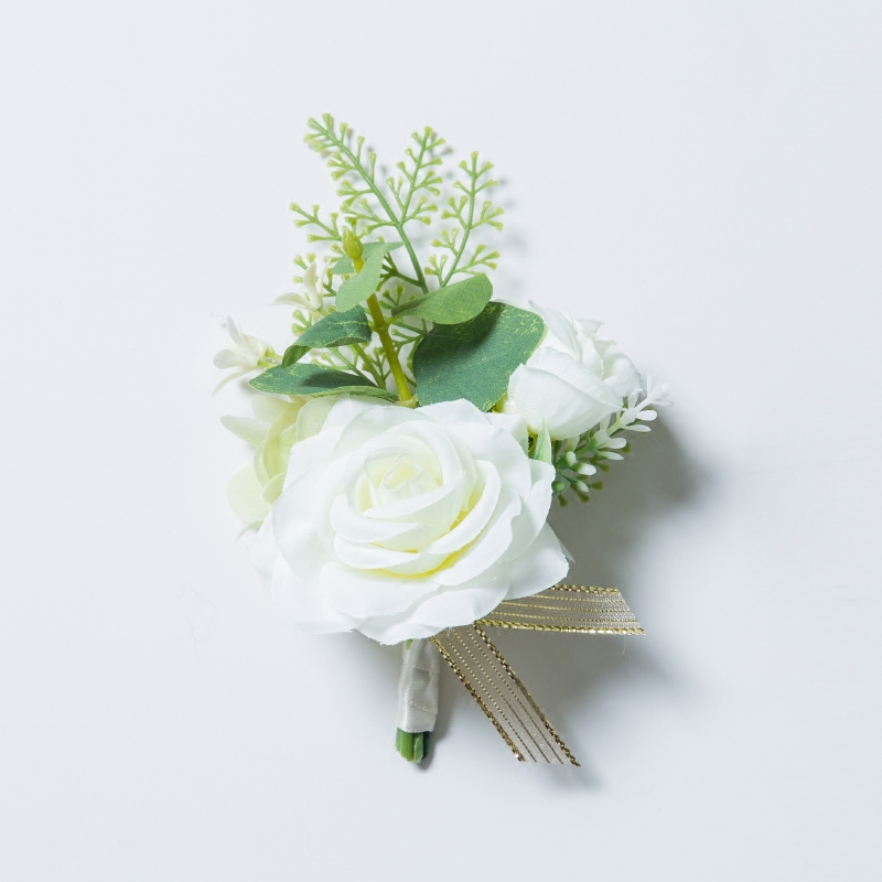 JaneVini Artificial White Groomsmen Wedding Corsage Rose Boutonniere for Men Handmade Groom Flower Boutonnieres Buttonhole 2019
