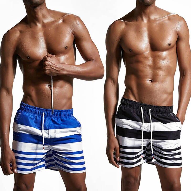 Men Quick Dry Board Shorts Summer Beach Striped Drawstring Short Bottoms FS99