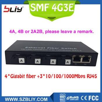 4G3E commutateur gigabit 4 fiber oem intégré unique mode 4 SC fiber à 3 RJ45 bi-directionnel passive fiber optique médias convertisseur