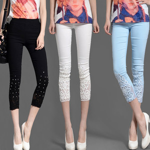 Image 2 - Women Elastic Lace Leggings Summer thin three quarter Pants bodycon jeggings Big Size Cropped Short Trousers Black White