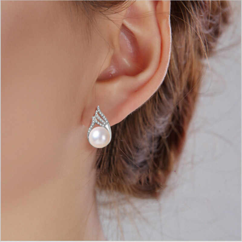 Fashion celebrities Pearl Earrings For Women Diamante Freshwater Pearl With Princess Style Silver Earrings Wedding Jewelry