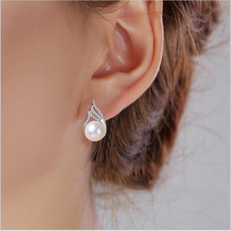 Мода знаменитостей Серьги с жемчугом для Для женщин Diamante пресноводного жемчуга с В стиле принцессы Серебряные серьги Свадебные украшения