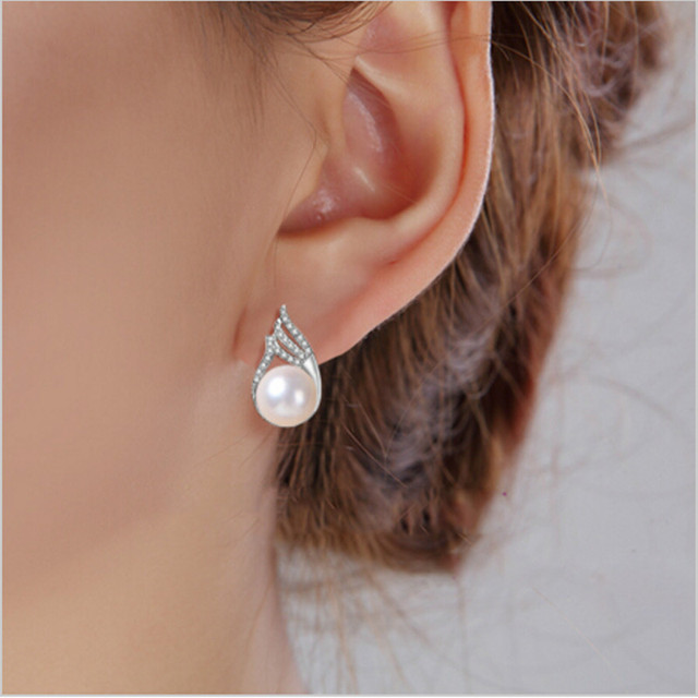 Fashion Celebrities Pearl Earrings For Women Diamante Freshwater With Princess Style Silver Wedding Jewelry