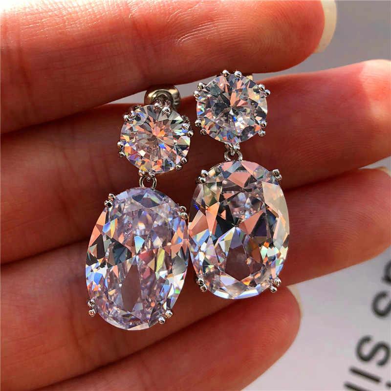 Luksusowe kryształ kobiet Peridot stadniny kolczyki w stylu Vintage 925 Sterling srebrna biżuteria ślubna duży biały niebieski czarny kolczyki dla kobiet