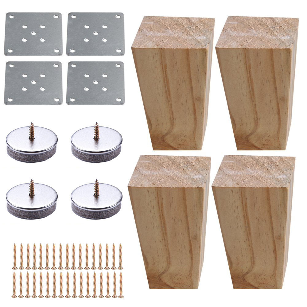 4pcs 12cm Height Solid Wooden Right Angle Trapezoid Furniture Legs Sofa Bench Closet Cabinet Feet Couch Dresser Armchair Foot