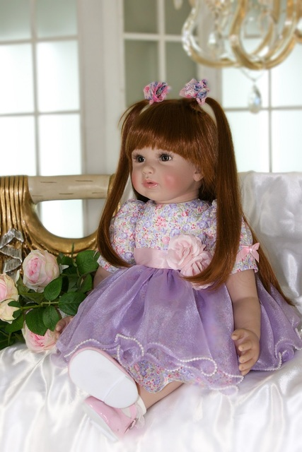 60cm Silicone Reborn Baby Doll Toys 24 Vinyl Princess Toddler Babies Doll Long Hair High end