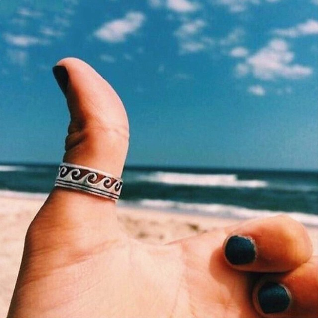 Silver Wave Ring Stainless Steel Knuckle Ocean Wire Wrap Surf Rings For Women Be