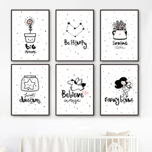 Unicorn Star Flowers Girl Motivational quotes Wall Art Canvas Painting Nordic Posters And Prints Pictures Kids Room Decor
