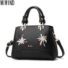Miwind vintage floral bordado mujeres bolso de cuero hombro de las mujeres bolso bolsos TLS1278