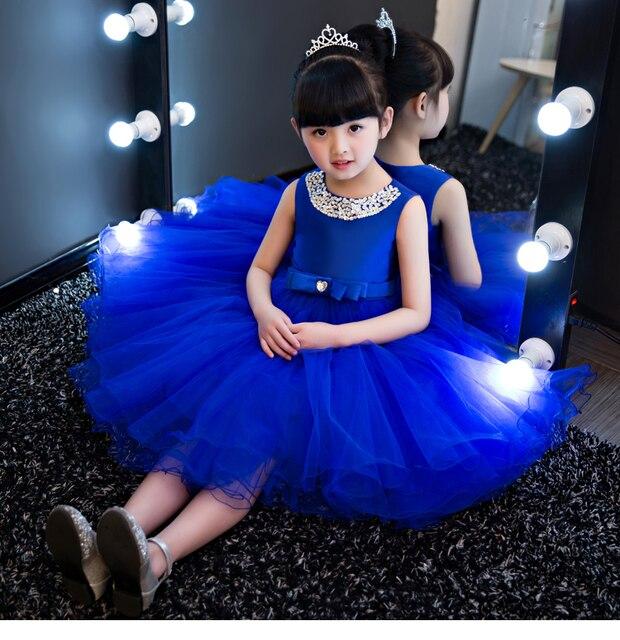 5e869d565f38 Big Bow Flower Girls Dress Blue Royal Princess Girls Dresses Ball Gown  Children First Communion Gowns Party Dress