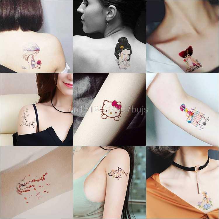 30 Stuks/set Cartoon Tijdelijke Tattoo Sticker Ingekleurde Tekening Bloem Schattige Kinderen Body Tatoo Voor Vrouwen Mannen Decal