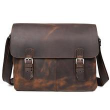 Vintage Crazy Horse Leather Men Messenger Bags Leder Large Shoulder Bags Sling Leather Bag Men 6002LR-2
