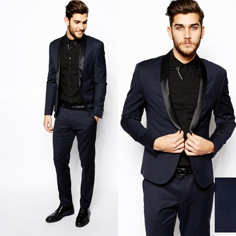 2015 Men Formal Dress Suits Fashion Black Navy Business Suit Men